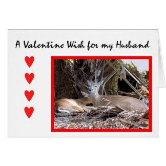 Valentinstag-Karte für Ehemann mit Rotwild Karte