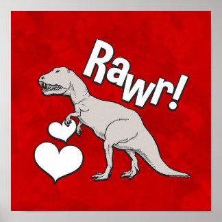 Valentinstag Rawr Tyrannosaurus-T Rex scherzt Poster