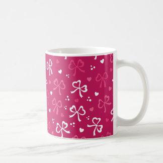 Valentinstag-rosarotes Band-Herz-Muster Tasse