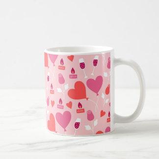 Valentinstag-rosarotes Herz steigt Muster im Tasse