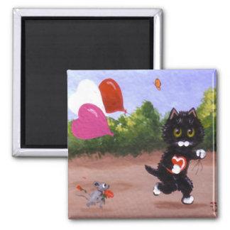 Valentinstag-schwarze Katzen-Maus Creationarts Quadratischer Magnet