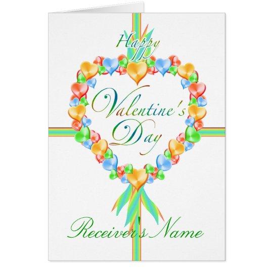 Valentinstag-Süßigkeits-Herz-kundenspezifische Grußkarte
