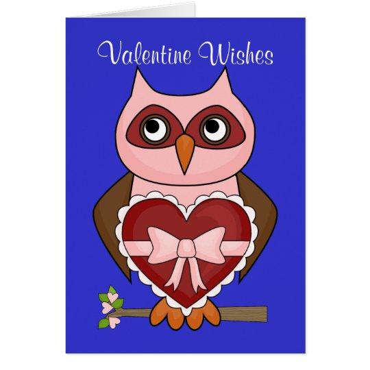 Valentinstag-Wünsche - freundliche Eule Karte
