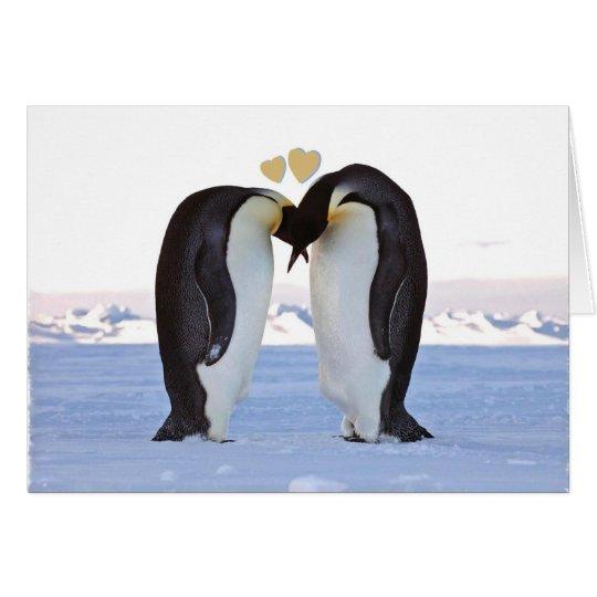 Valentinstag, zwei Pinguine - zwei Herzen Karte
