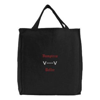 Vampires-Biss-bessere gotische Spaß-Taschen-Tasche Bestickte Tragetasche