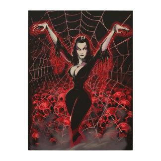 Vampirs-Frauen-Spinnennetz gotisch Holzdruck
