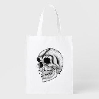 Vampirs-Schädel-Schwarzweiss-Entwurf Wiederverwendbare Einkaufstasche