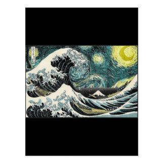 Van Gogh die sternenklare Nacht - Hokusai die Postkarte