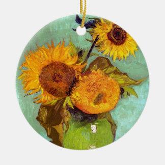 Van Gogh - drei Sonnenblumen in einem Vase - Rundes Keramik Ornament