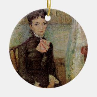 Van Gogh, Frau, die durch eine Wiege, Vintage Rundes Keramik Ornament