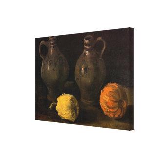 Van Gogh, Gläser und 2 Kürbise, Vintages noch Leinwanddruck