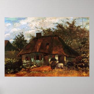 Van Gogh - Hütte und Frau mit Ziege Poster