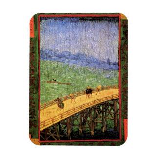Van Gogh - Japonaiserie : Pont sous la pluie Magnets En Rectangle