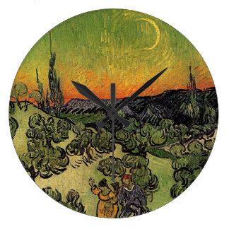 """Van Gogh """"Landschaft mit Paar-gehender"""" Uhr Große Wanduhr"""
