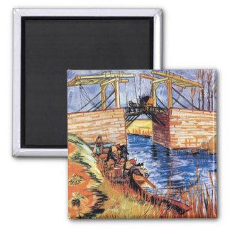 Van Gogh - le pont de Langlois chez Arles Magnet Carré