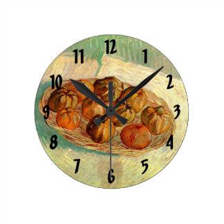 Van Gogh Leben-Korb-Apfel-Vintage feine Kunst noch Runde Wanduhr