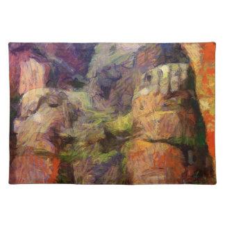 Van Gogh-Leshan-Riesig-Buddha-inChina Stofftischset