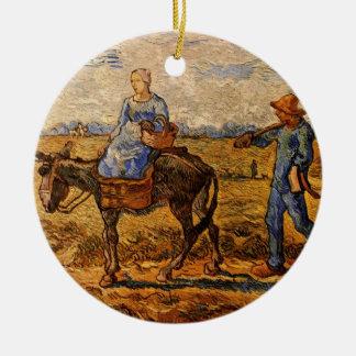 Van Gogh; Morgen: Ländliche Paare, die gehen zu Rundes Keramik Ornament