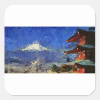 Van Gogh Mt-Fuji-Japan Quadratischer Aufkleber