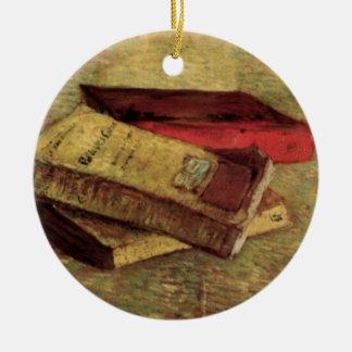 Van Gogh; Noch Leben mit drei Büchern, Vintage Keramik Ornament