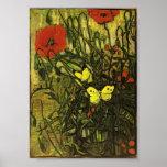Van Gogh - pavots et papillons Affiche