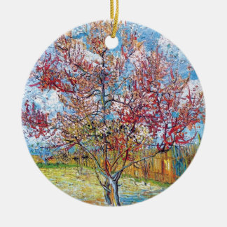 Van Gogh - rosa Pfirsich-Bäume Rundes Keramik Ornament