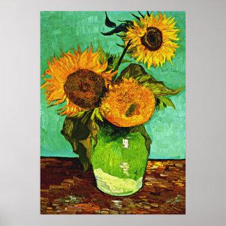 Van Gogh - Sonnenblumen, drei Poster