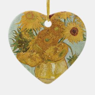 Van Gogh - Sonnenblumen Keramik Herz-Ornament