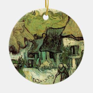 Van Gogh Thatched Hütte Jorgus, Vintage feine Rundes Keramik Ornament