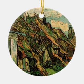 Van Gogh Thatched Sandstein-Hütten in Chaponval Rundes Keramik Ornament