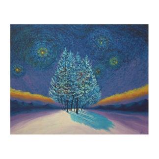 Van- Goghart-Blau-Weihnachten Holzleinwand