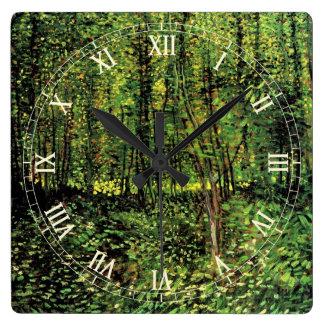Van- Goghbäume und Unterholz, Vintage feine Kunst Quadratische Wanduhr