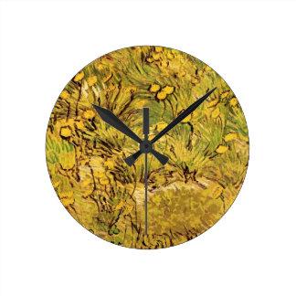 Van- Goghfeld der gelben Blumen, Vintage feine Runde Wanduhr