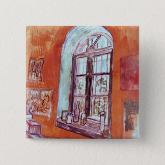 Van- Goghfenster von Vincents Studio am Asyl Quadratischer Button 5,1 Cm