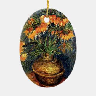 Van GoghFritillaries in einem kupfernen Vase, Ovales Keramik Ornament
