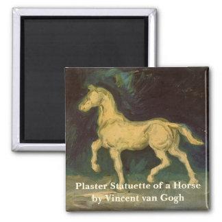 Van- Goghgips-Statuette eines Pferds, Vintage Quadratischer Magnet