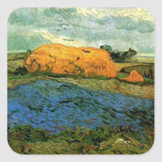 Van- Goghheuschober unter einem regnerischen Quadratischer Aufkleber
