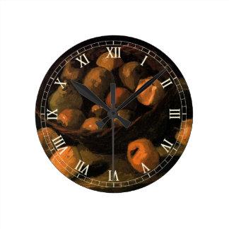 Van- Goghkorb der Äpfel, Vintage noch Leben-Kunst Runde Wanduhr