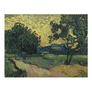 Van- Goghlandschaft an Dämmerung 1890 Postkarte