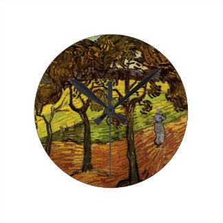 Van- Goghlandschaft mit Bäumen, Vintage feine Runde Wanduhr