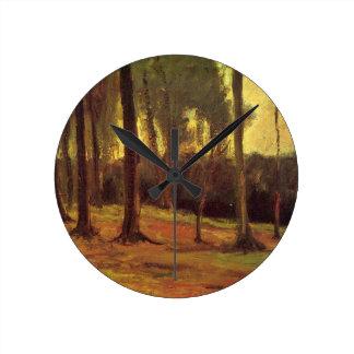 Van- Goghrand eines Holzes, Vintage feine Kunst Runde Wanduhr