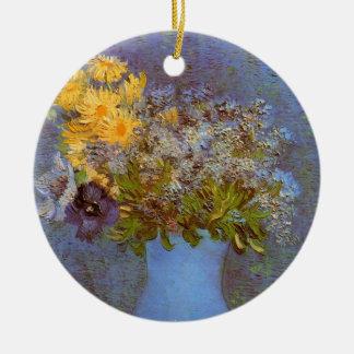 Van- GoghVase mit Fliedern, Gänseblümchen und Rundes Keramik Ornament