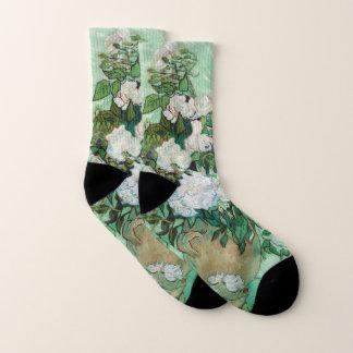 Van- Goghvase mit rosa Rosen-Vintager Blumenkunst Socken