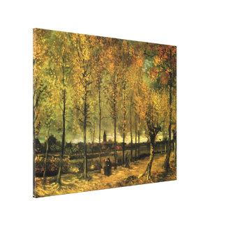 Van- Goghweg mit Pappeln, Vintage feine Kunst Leinwanddruck