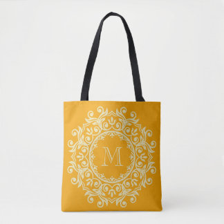 Vanille-Creme-und Kürbis-Rolle-Kranz-Monogramm Tasche