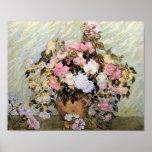 Vase à Van Gogh avec des roses Posters