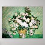 Vase à Van Gogh avec l'affiche rose de roses Poster