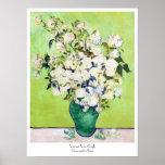 Vase avec la peinture de Vincent van Gogh de roses Affiche