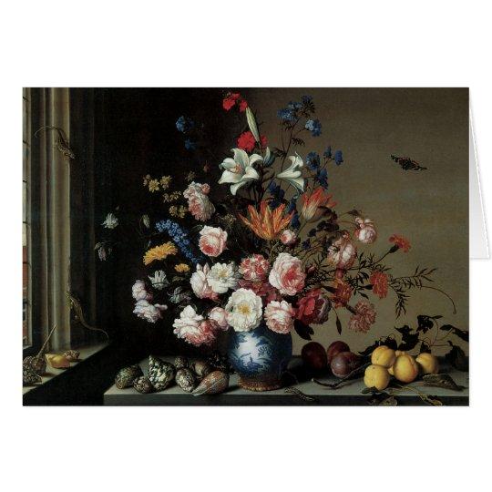 Vase Blumen durch ein Fenster, Balthasar van Der Grußkarte