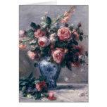 Vase de roses carte de vœux